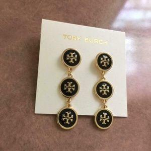 New Tory Burch Black/Gold Logo Dangle Earrings